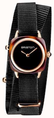 Briston | signora clubmaster | singolo nero nato | custodia in pvd oro rosa | 19924.SPRG.M.1.NB