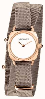 Briston | signora clubmaster | taupe singolo nato | custodia in pvd oro rosa | 19924.SPRG.M.2.NT