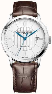Baume & Mercier | mens classima | automatico | pelle marrone | quadrante argento | BM0A10214