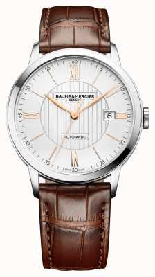 Baume & Mercier | mens classima | automatico | pelle marrone | quadrante argento | BM0A10263