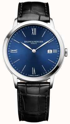Baume & Mercier | mens classima | cinturino in pelle nera | quadrante blu | M0A10324