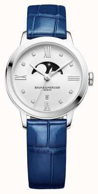 Baume & Mercier | donna classima | pelle blu | quadrante argento a fasi lunari | BM0A10329