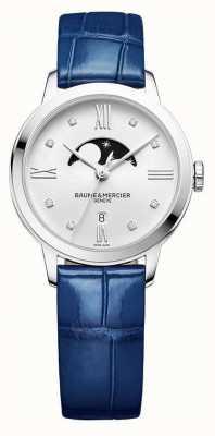 Baume & Mercier | donna classima | pelle blu | quadrante argento con fasi lunari | M0A10329