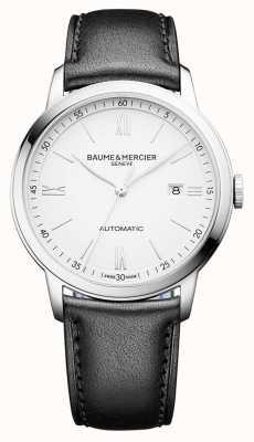 Baume & Mercier | mens classima | automatico | pelle nera | quadrante bianco | BM0A10332