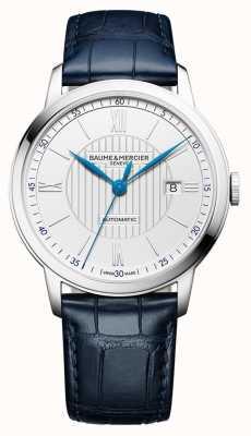 Baume & Mercier | mens classima | automatico | pelle blu | quadrante argentato | M0A10333