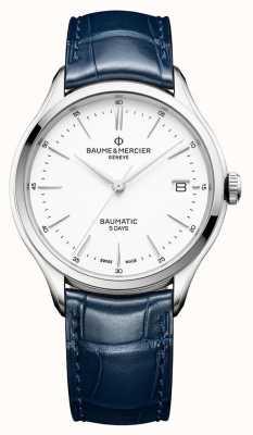 Baume & Mercier | mens clifton | baumatico | pelle blu | quadrante bianco | BM0A10398