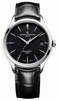 Baume & Mercier | mens clifton | baumatic | pelle nera | quadrante nero | M0A10399