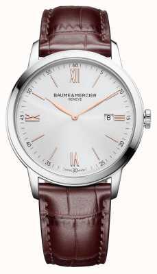Baume & Mercier | mens classima | pelle marrone chiaro | quadrante argento | BM0A10415