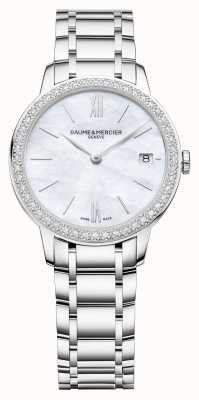 Baume & Mercier | classima femminile | castone di diamanti | bracciale in acciaio inossidabile M0A10478