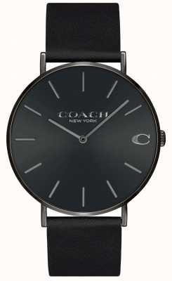 Coach | uomo | charles | cinturino in pelle nera | quadrante nero | 14602434