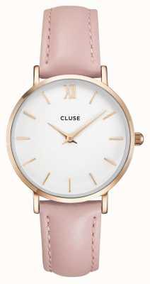 CLUSE | minuit donna | cinturino in pelle rosa | quadrante bianco | CL30001