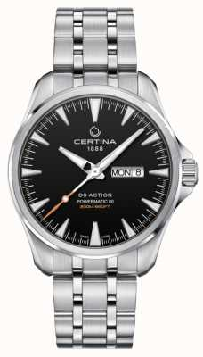Certina | ds action powermatic 80 | acciaio inossidabile | quadrante nero | C0324301105100