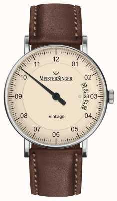 MeisterSinger | mens vintago | automatico | pelle marrone | quadrante crema | | VT903