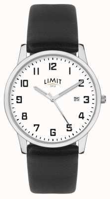 Limit | cinturino in pelle nera da uomo | quadrante argento/bianco | 5741.01