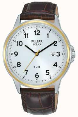 Pulsar | solare | cinturino in pelle marrone | quadrante argento | cassa d'oro PX3198X1