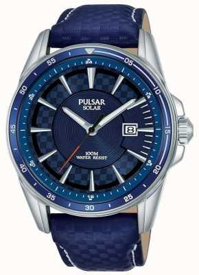 Pulsar   sport acceleratore   cinturino in pelle blu   quadrante blu   PX3205X1