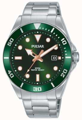 Pulsar | sport casuale | bracciale in acciaio inossidabile | quadrante verde | PG8301X1