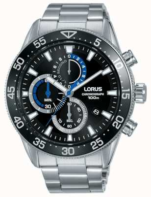 Lorus | cronografo da uomo | quadrante nero | bracciale in acciaio inossidabile | RM335FX9