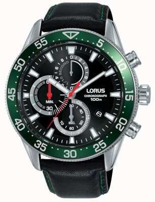 Lorus | cronografo da uomo | castone verde | cinturino in pelle nera | RM347FX9