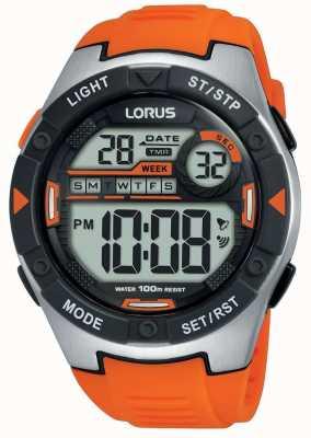 Lorus | mens sport digitali | cinturino in caucciù arancione | R2303NX9