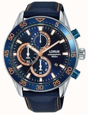 Lorus | cronografo da uomo | castone blu | pelle blu | quadrante blu | RM341FX9