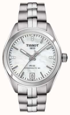Tissot Donna pr 100 powermatic 80 in acciaio inossidabile madreperla T1012071111600