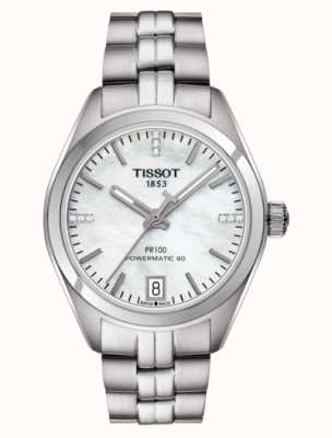 Tissot Womens pr 100 powermatic 80 in acciaio inossidabile madreperla T1012071111600