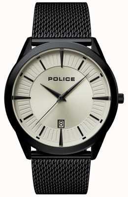 Police | patriota uomo | bracciale a maglie nere | quadrante beige | 15305JSB/79MM