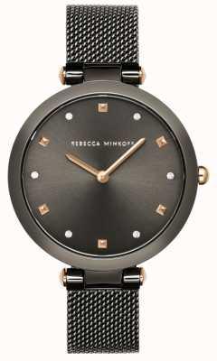 Rebecca Minkoff Nina delle donne | braccialetto grigio a rete | quadrante grigio | 2200302