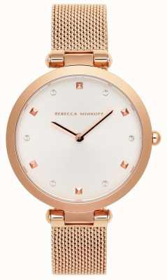 Rebecca Minkoff Nina delle donne | bracciale in maglia oro rosa | quadrante bianco | 2200301