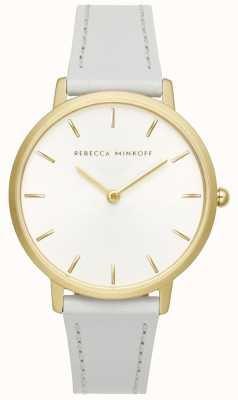 Rebecca Minkoff Le donne importanti | cinturino in pelle grigia | quadrante argento / bianco | 2200289