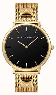 Rebecca Minkoff Maggiore femminile | braccialetto a maglie placcato oro | quadrante nero | 2200002