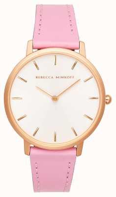 Rebecca Minkoff Le donne importanti | cinturino in pelle rosa | quadrante argento / bianco | 2200290