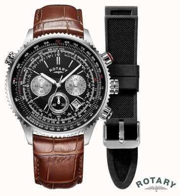 Rotary | uomo | orologio cronografo piloti | cinturino intercambiabile | GS00100/04/KIT