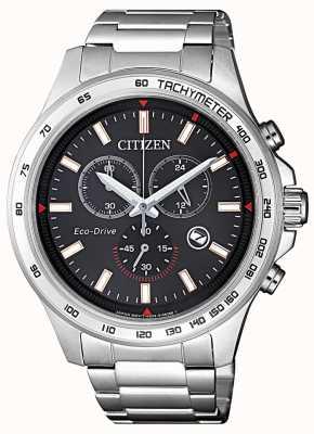Citizen | cronografo da uomo eco-drive | quadrante nero | acciaio inossidabile AT2420-83E