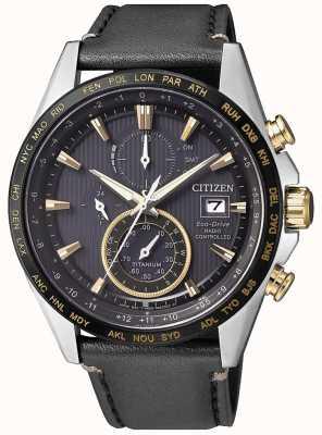 Citizen | cronografo da uomo eco-drive world su | cinturino in pelle nera AT8158-14H