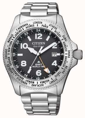 Citizen | mens eco-drive promaster gmt | quadrante nero | acciaio inossidabile BJ7100-82E