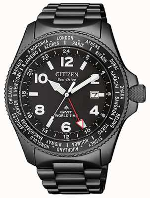 Citizen | mens eco-drive promaster gmt | quadrante nero | pvd grigio BJ7107-83E
