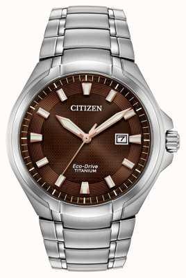 Citizen | eco-drive per uomo | bracciale in titanio | quadrante marrone | BM7431-51X