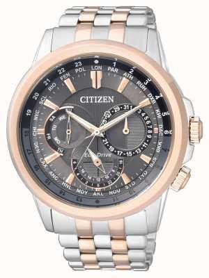 Citizen   uomo eco-drive   bracciale bicolore   quadrante nero / grigio   BU2026-65H