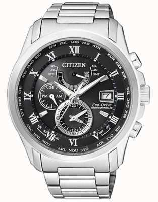 Citizen   mens eco-drive tempo mondiale a   acciaio inossidabile   blackdial AT9081-89E