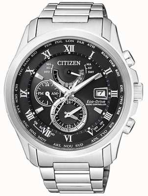 Citizen | mens eco-drive tempo mondiale a | acciaio inossidabile | blackdial AT9081-89E