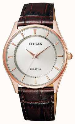 Citizen | uomo eco-drive | cinturino in pelle marrone | quadrante argento | BJ6483-01A