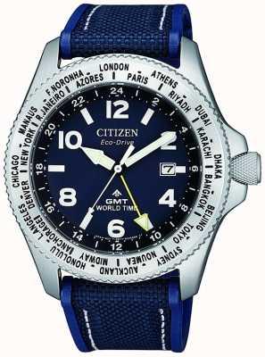 Citizen Orologio da uomo eco-drive promaster gmt con cinturino in tela blu con quadrante blu BJ7100-15L