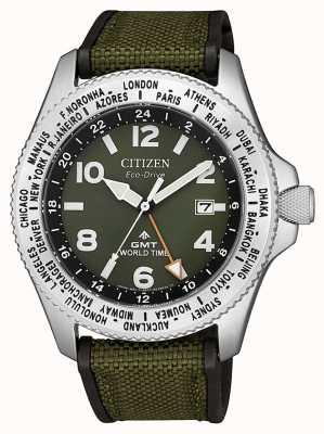 Citizen Orologio da uomo eco-drive promaster gmt con cinturino in tela verde quadrante verde BJ7100-23X
