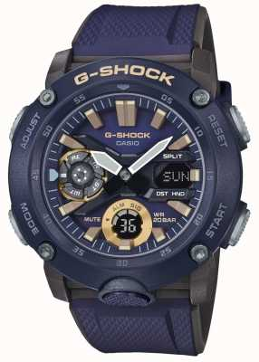 Casio | g-shock carbon core time mondiale | cinturino in caucciù blu | GA-2000-2AER