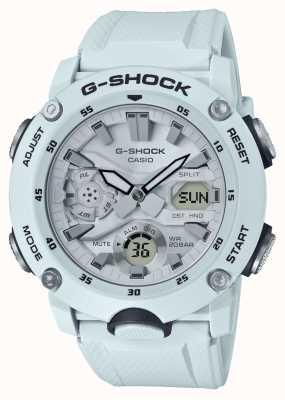 Casio | guardia del nucleo di carbonio g-shock | cinturino in caucciù bianco | GA-2000S-7AER