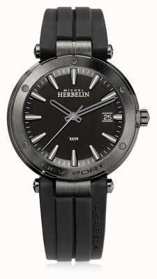 Michel Herbelin | uomo newport | cinturino in caucciù nero | quadrante nero | 12288/G33CA