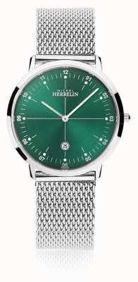 Michel Herbelin | città uomo / donna | braccialetto in maglia d'argento | quadrante verde | 19515/16B