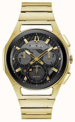 Bulova | curv | uomo | braccialetto tono oro | quadrante crono nero | 97A144